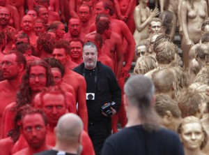 Photographer Spencer Tunick in the thick of his Ring image installation