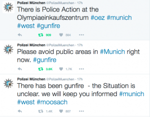 Screen shot of Munich Police Twitter feed during the shooting at the OEZ 22 July 2016
